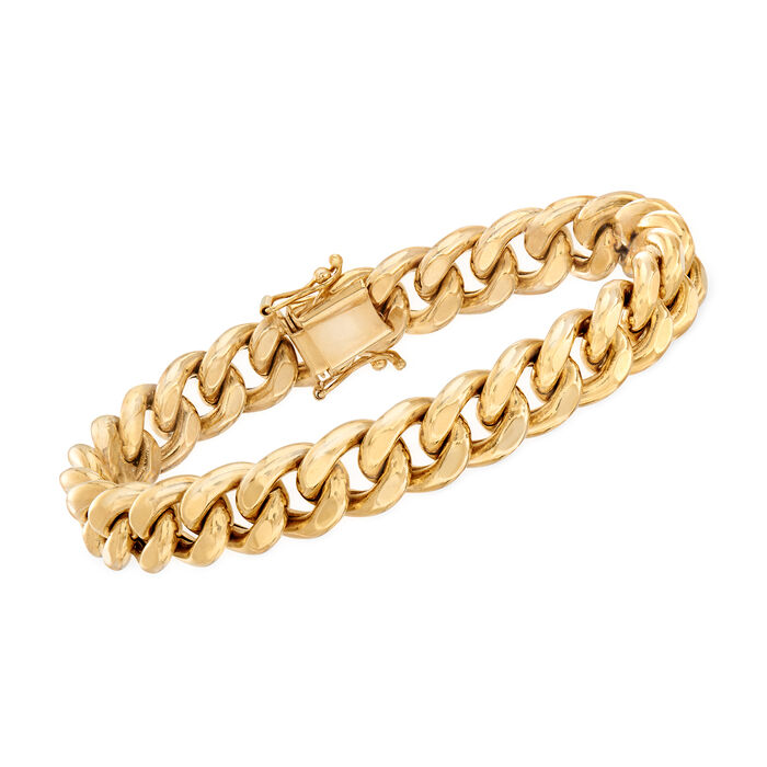 "Italian Men's 14kt Yellow Gold Curb-Link Bracelet. 8.5"", , default"