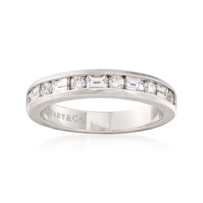 C. 1990 Vintage Tiffany Jewelry Round and Baguette .80 ct. t.w. Diamond Ring in Platinum, , default