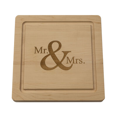 """Mr. & Mrs."" Maple Wood Cutting Board, , default"