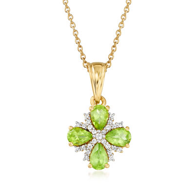 1.50 ct. t.w. Peridot and .10 ct. t.w. White Topaz Flower Pendant Necklace in 18kt Gold Over Sterling