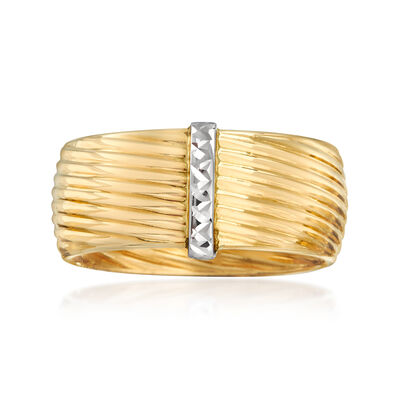 Italian 14kt Two-Tone Gold Bar Ring