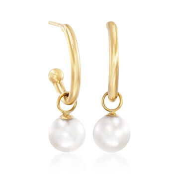 "6mm Cultured Pearl Drop Tube Hoop Earrings in 14kt Yellow Gold. 3/4"", , default"