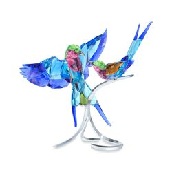 "Swarovski Crystal ""Lilac-Breasted Rollers"" Multicolored Crystal Figurine With Silvertone Base, , default"