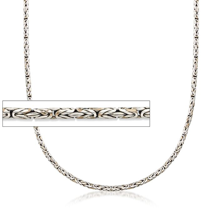 "2.5mm Sterling Silver Round Byzantine Chain Necklace. 16"", , default"