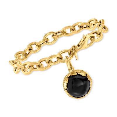 Italian Black Onyx Cable-Link Bracelet in 18kt Gold Over Sterling