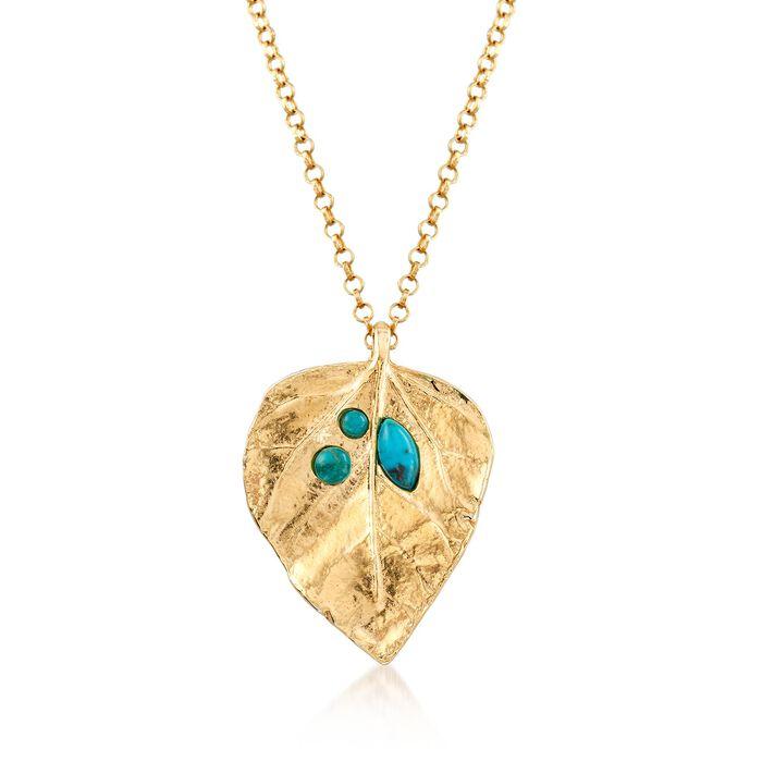 "Turquoise and 18kt Gold Over Sterling Leaf Pendant Necklace. 16.25"", , default"