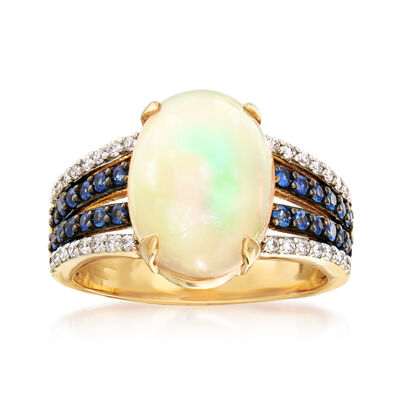 Opal, .35 ct. t.w. Sapphire and .20 ct. t.w. Diamond Ring in 18kt Yellow Gold