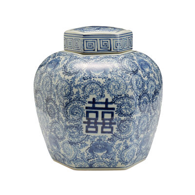 "Blue and White Porcelain ""Double Happiness"" Floral Covered Jar, , default"