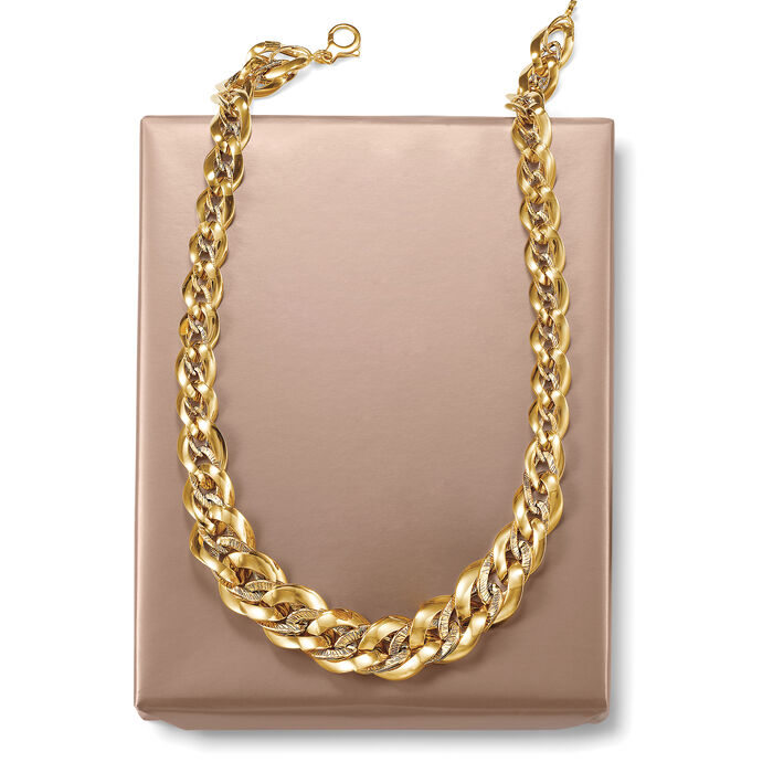 Italian 14kt Yellow Gold Graduated Oval-Link Necklace