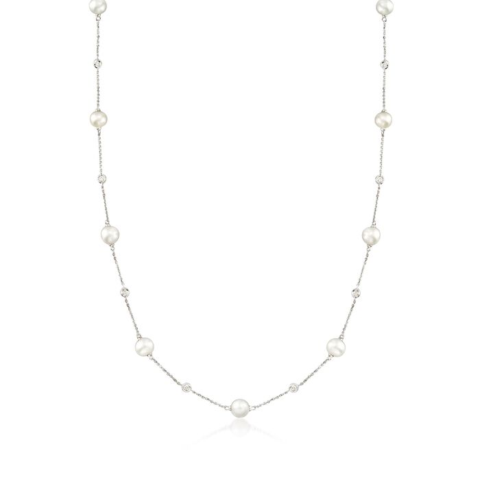 6-7mm Cultured Pearl and .30 ct. t.w. Diamond Station Necklace in 14kt White Gold