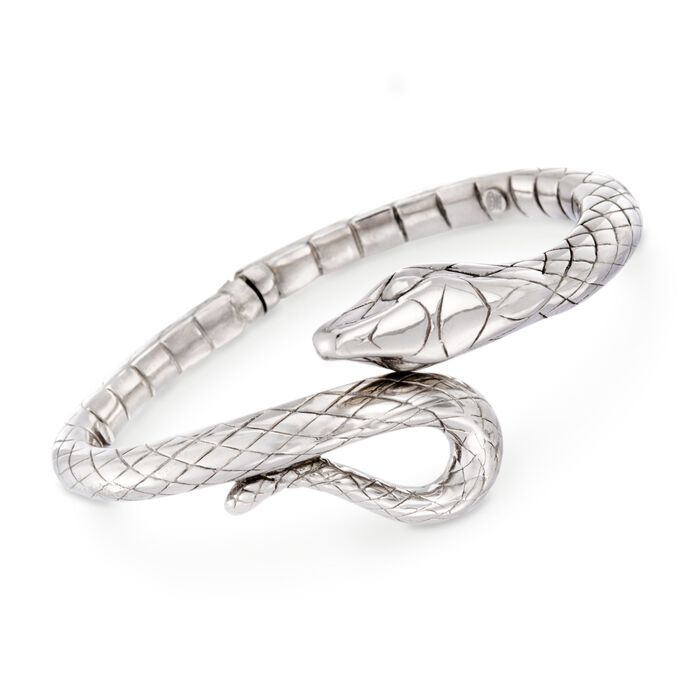 "Italian Sterling Silver Snake Bypass Bangle Bracelet. 8"", , default"