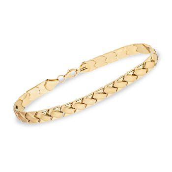 """14kt Yellow Gold Paver Stampato Bracelet. 7.5"""", , default"""