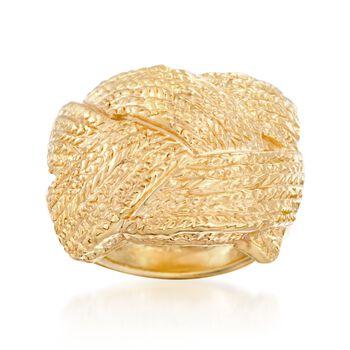 Italian 18kt Yellow Gold Basketweave Ring, , default