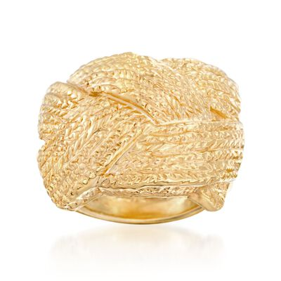 Italian 18kt Yellow Gold Basketweave Ring, , default