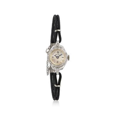 C. 1950 Vintage Kent Woman's .15 ct. t.w. Diamond Mechanical 17mm Watch in 14kt White Gold, , default
