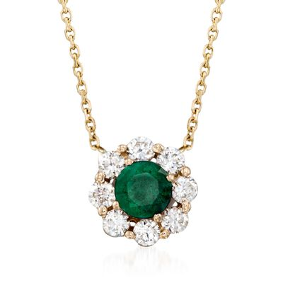 .50 Carat Emerald and .48 ct. t.w. Diamond Necklace in 14kt Yellow Gold