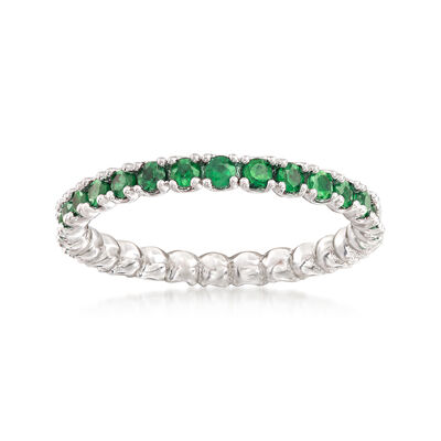 .92 ct. t.w. Tsavorite Stackable Eternity Band in Sterling Silver, , default