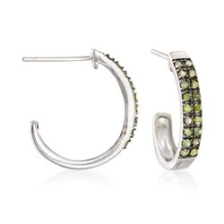 ".25 ct. t.w. Green Diamond Petite J-Hoop Earrings in Sterling Silver. 5/8"", , default"
