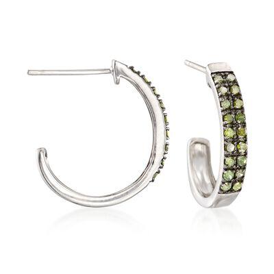 .25 ct. t.w. Green Diamond Petite J-Hoop Earrings in Sterling Silver, , default