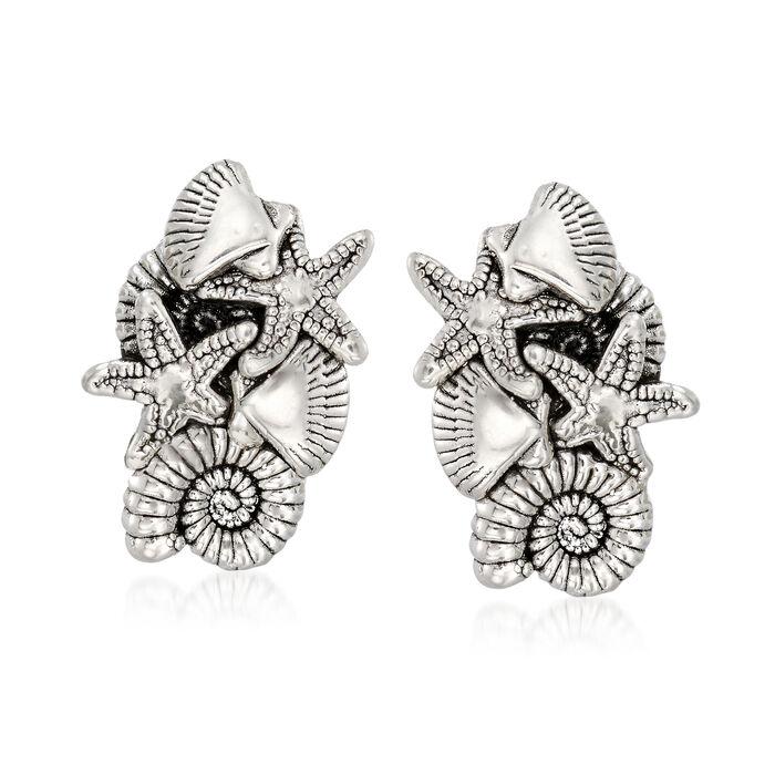Sterling Silver Sealife Earrings, , default