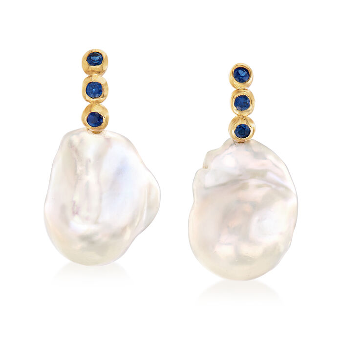 Mazza Cultured Baroque Pearl and .40 ct. t.w. Sapphire Drop Earrings in 18kt Yellow Gold, , default