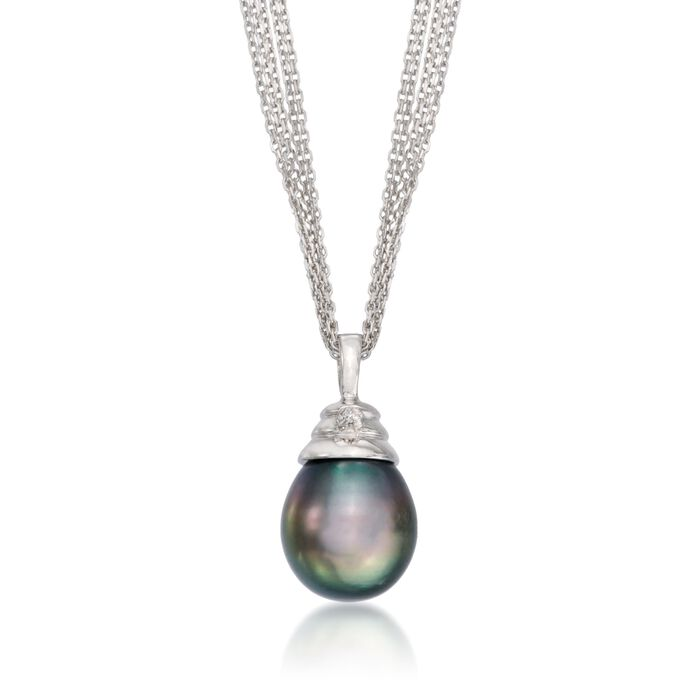 11-12mm Black Cultured Tahitian Pearl Necklace with Diamond Accent in Sterling Silver, , default