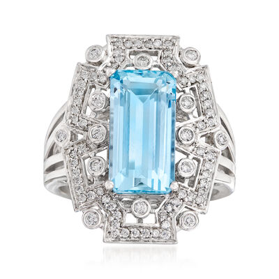 4.50 Carat Aquamarine and .41 ct. t.w. Diamond Ring in 14kt White Gold, , default