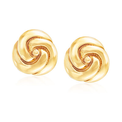 Italian 18kt Yellow Gold Swirl Earrings, , default