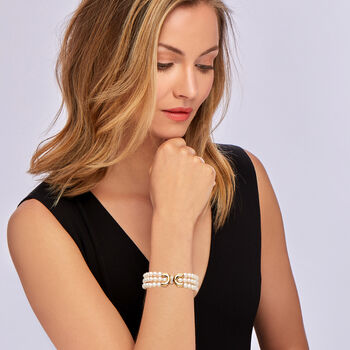 """C. 1980 Vintage 6x5.5mm Cultured Pearl Three-Row Bracelet with Diamond Accents in 14kt Yellow Gold. 7"""""""