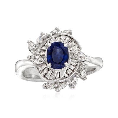 C. 1980 Vintage .94 Carat Sapphire and .86 ct. t.w. Diamond Ring in Platinum
