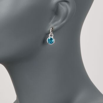 4.90 ct. t.w. Blue Topaz and .12 ct. t.w. Diamond Drop Earrings in 14kt White Gold, , default