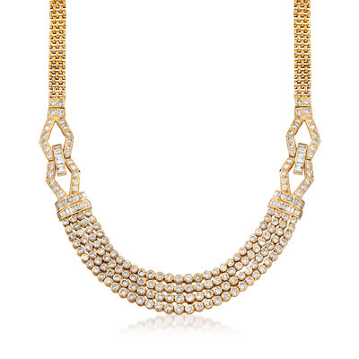 C. 1980 Vintage 11.80 ct. t.w. Diamond Multi-Strand Necklace in 18kt Yellow Gold