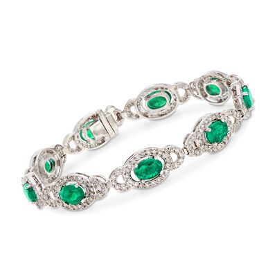 6.60 ct. t.w. Emerald and 1.60 ct. t.w. Diamond Oval Link Bracelet in 14kt White Gold, , default