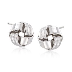 Sterling Silver Ribbed Love Knot Earrings, , default