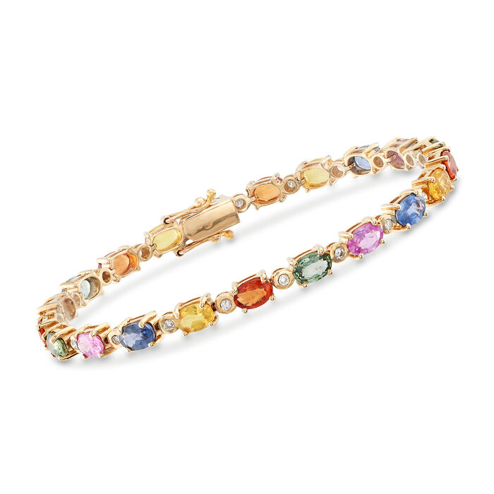 11.50 ct. t.w. Multicolored Sapphire and .42 ct. t.w. Diamond Bracelet in 14kt Yellow Gold, , default