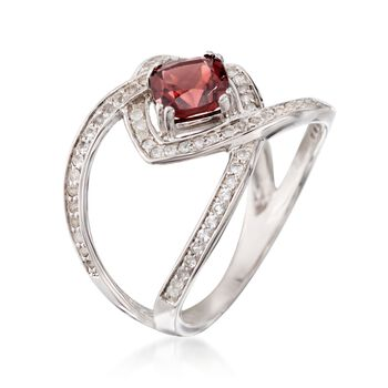 1.30 Carat Garnet and .60 ct. t.w. White Topaz Open Ring in Sterling Silver, , default
