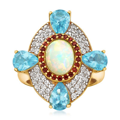 Opal and 3.70 ct. t.w. Multi-Gemstone Ring in 18kt Gold Over Sterling Silver, , default