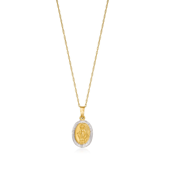 Child's 14kt Two-Tone Gold Saint Mary Pendant Necklace