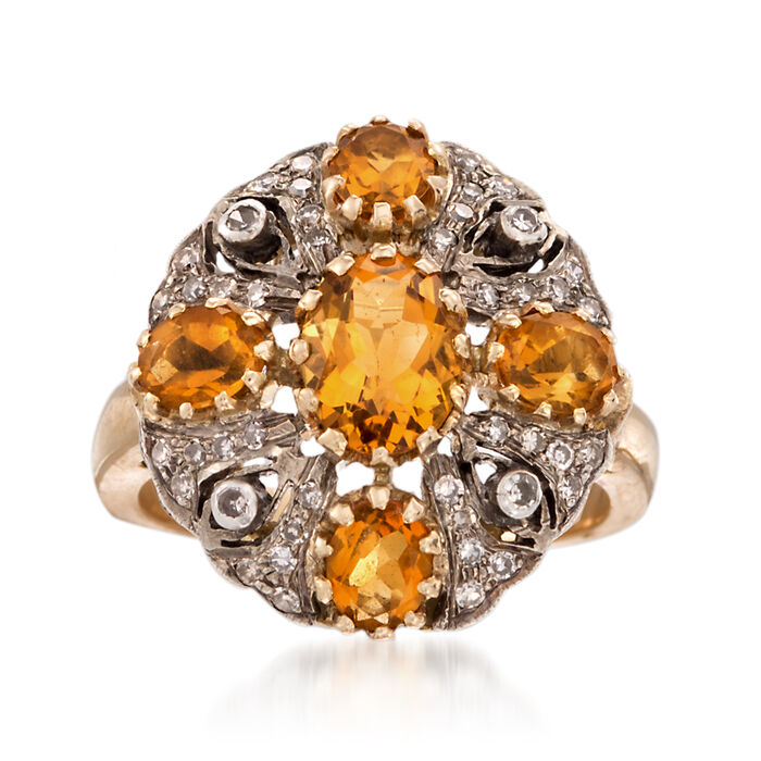 C. 1980 Vintage 2.15 ct. t.w. Citrine and .25 ct. t.w. Diamond Cluster Ring in 18kt Yellow Gold. Size 7.5, , default