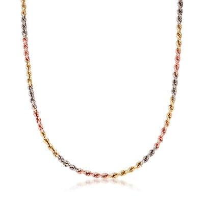 C. 1990 Vintage 14kt Tri-Colored Gold Rope Chain