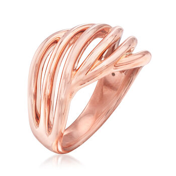 14kt Rose Gold Twisted Open-Space Ring, , default