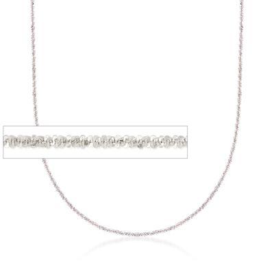 Italian 1mm 14kt White Gold Adjustable Slider Crisscross Chain, , default