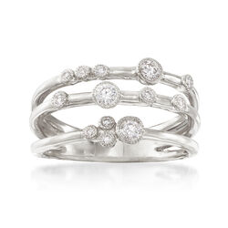 . 31 ct. t.w. Diamond Three-Row Ring in 18kt White Gold, , default