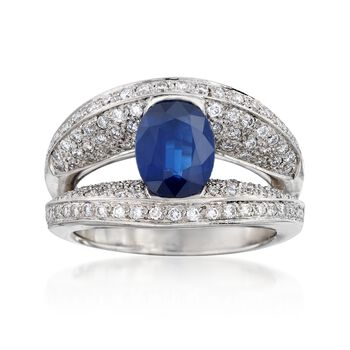 C. 2000 Vintage 1.95 Carat Sapphire and 1.10 ct. t.w. Diamond Ring in 14kt White Gold. Size 8, , default