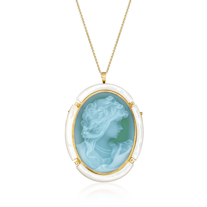 C. 1980 Vintage Mother-Of-Pearl and Green Glass Cameo Pin/Pendant in 18kt Yellow Gold