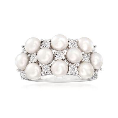4mm Cultured Pearl Ring with Diamond Accents in Sterling Silver