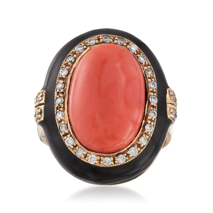 C. 1970 Vintage Pink Coral and .45 ct. t.w. Diamond Ring with Black Enamel in 14kt Gold. Size 6.75, , default