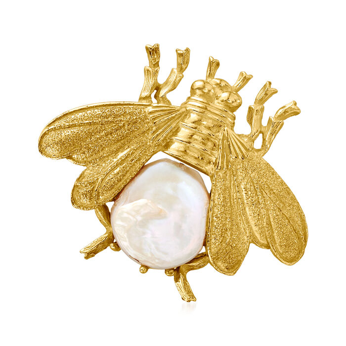 Italian 15mm Cultured Pearl Bee Pin/Pendant in 18kt Gold Over Sterling