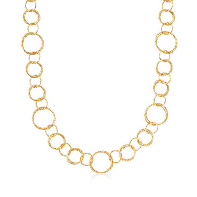 Italian 18kt Yellow Gold Long Textured Circle-Link Necklace