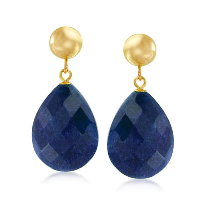 18.00 ct. t.w. Sapphire Teardrop Earrings in 14kt Yellow Gold